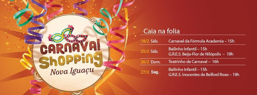Começa neste sábado, a programação de carnaval do Shopping Nova Iguaçu