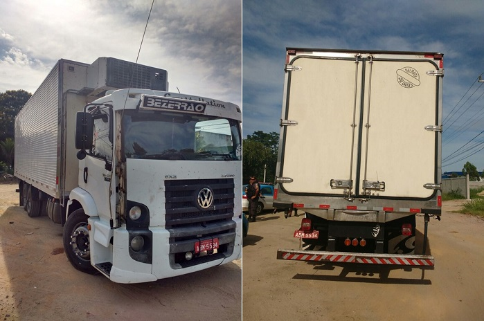 PM recupera caminhão roubado com carga de carne em Seropédica