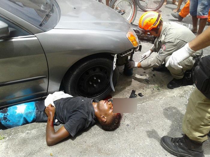 Jovem atropelado em fuga no Bairro São Miguel, em Queimados, depois de assaltar um estabelecimento comercial com uma arma de brinquedo