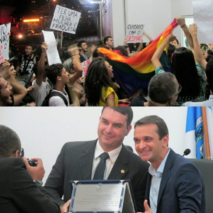 Manifestação contra título de Cidadão Queimadense à Flávio Bolsonaro reúne jovens em frente a Câmara Municipal de Queimados no dia 12/06