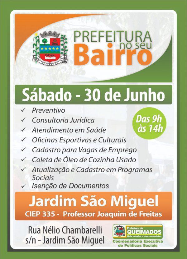 Programa Prefeitura no seu Bairro leva hoje, 30/06,  ações sociais em Queimados.