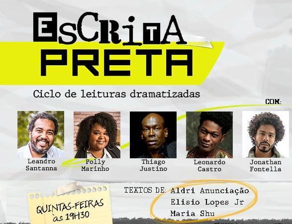 """Leandro Santanna está em cartaz hoje, 02/08, com entrada gratuita em """"Escrita Preta"""", no Teatro Gonzaguinha."""