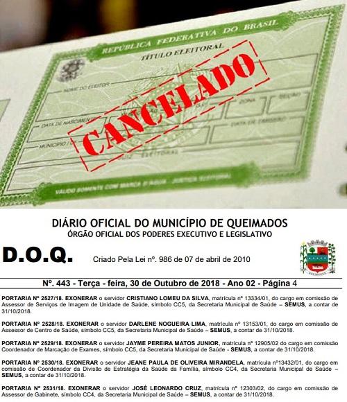 Prefeitura de Queimados exonera comissionados e suspende salários de estatutários que não votaram por estarem com os títulos cancelados