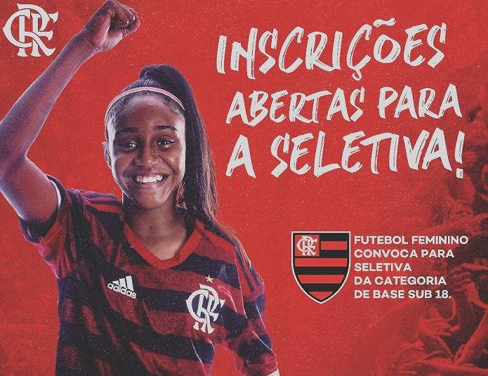 Flamengo convoca meninas nascidas entre 2001 e 2004 para seletiva do Sub 18 feminino no sábado 07/09