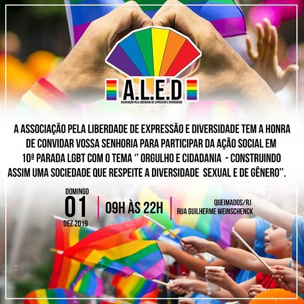 Queimados tem 10ª Parada LGBT e Ação Social neste domingo: Dia Mundial de Combate a Aids