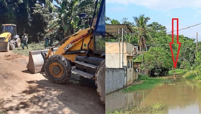Máquinas da Prefeitura vão à Vila Central, mas estado de calamidade continua com dezenas de famílias ilhadas