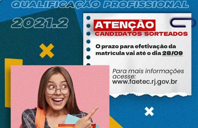 Matrículas nos cursos de Qualificação Profissional da Faetec vão até a próxima semana